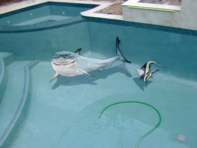 Robert vogland brings life to swimming pools hydropro sales inc no that is not a real shark in your pool but they fool many people welcome to the world of tile artistry by master tile artist robert vogland ppazfo