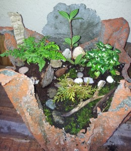 Cement cloth planter with miniature woodland path theme
